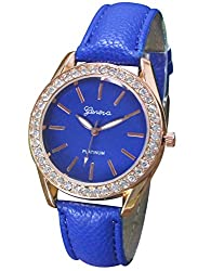 Geneva Platinum Analog Blue Dial Womens Watch - GP-046