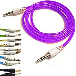 PURPLE 3.5mmto 3.5mm Stereo Car Audio Jack To Jack Tangle Free AUX Auxilliary Cable Lead For MOTOROLA MOTO G XT1032 Android Mobile Cellular Cell Phone