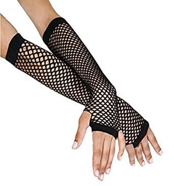 1980's Cindy Lauper Costume Accessory Long Fishnet Gloves - Black