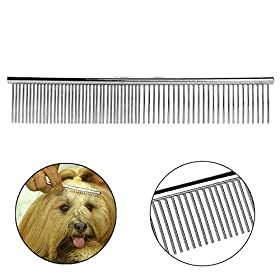 Dog Comb, Itery Pet Grooming Tools-deshedding Brush Stainless Steel Dog Comb with High Quality