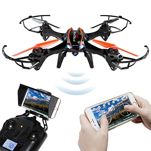 DBPOWER UDI U842 WiFi FPV Drone with HD Camera - Includes BONUS BATTERY and 4GB TF Card - 2.4GHz 4CH 6 Axis Gyro RTF UFO RC Quadcopter with Headless Mode Gravity Induction and Low Voltage Alarm