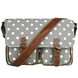 Miss Lulu Canvas Prints Satchel Messenger Shoulder Bag (Polka Dots Grey)