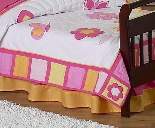 Pink and Orange Butterfly Bed Skirt for Crib and Toddler Bedding Sets by JoJo Designs