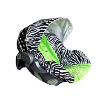 Infant Car Seat Cover, Baby Car Seat Cover, Slip Cover- Zebra, Dots and Lime Minky!