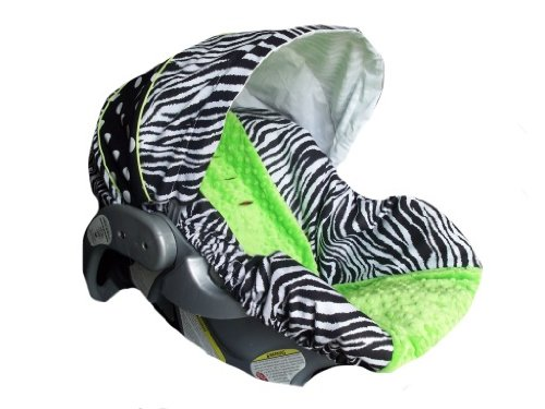 Infant Car Seat Cover, Baby Car Seat Cover, Slip Cover- Zebra, Dots And Lime Minky! front-993397