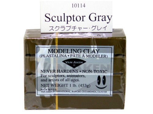 Van Aken Plastalina Modeling Clay sculptor gray 1 lb. bar