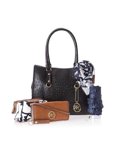 Emilie M Women's Natalie Ostrich Shopper with Essentials Box, Black Ostrich