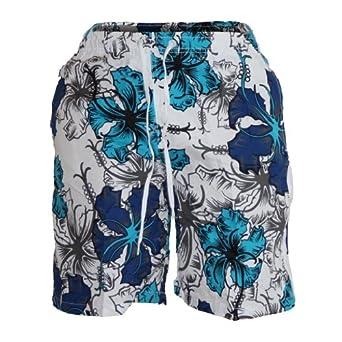 Waooh - Short De Bain Motif Fleurs Style Hawaïen Corantin (S, TURQUOISE)