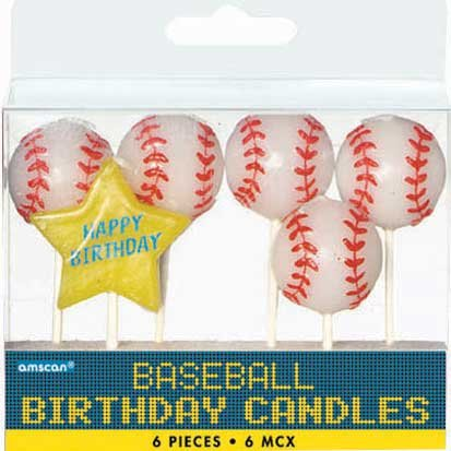 Baseball Birthday Candles 6ct - 1