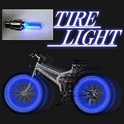 送料込み 自転車 安全 タイヤ ライト 青色 2個を1組で販売。