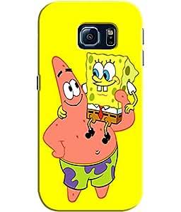 EU4IA Sponge Bob Square Pants Pattern MATTE FINISH 3D Back Cover Case For SAMSUNG GALAXY S6 EDGE - D088