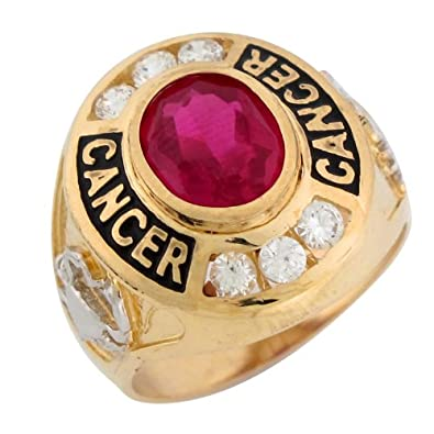 14ct Two Colour Gold Synthetic Ruby CZ July Birthstone Cancer Zodiac Mens Ring