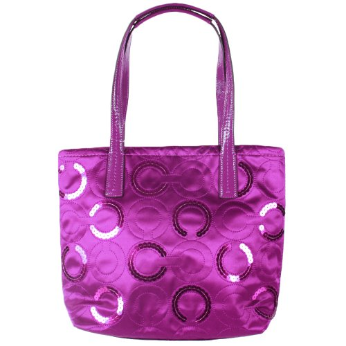 Coach   Coach Signature Op Art Sequin Tote 25470 Passion Berry