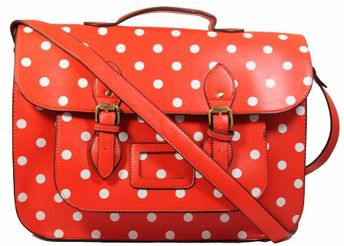 Paris Polka Dot Top Handle Satchel School Bag -- Red with White Dots
