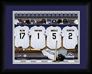MLB Personalized Locker Room Print Black Frame Customized Colorado Rockies by You