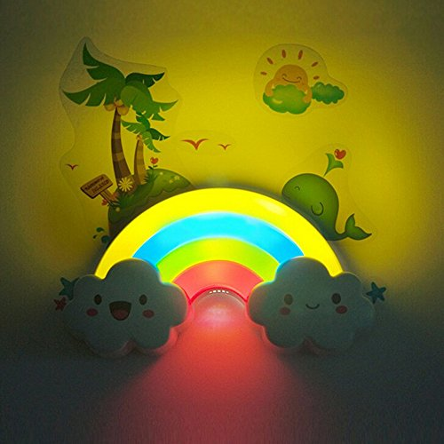 Eonkoo Rainbow Cloud Shaped Sleeping LED Night Light Sound Sense Control Lamp Wall Sticker Decorative Décor for Babies Nursery