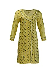 Lucknow Chikan Industry Women's Cotton Straight Kurti (Yellow , 38 Inches) - B00XHKH5Z8