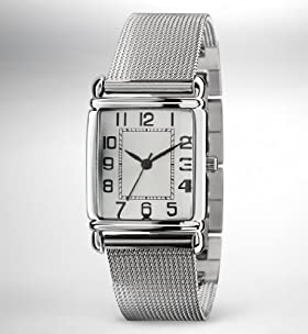 Rectangular Face Mesh Strap Watch