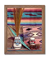 Southwestern Native American Indian Pottery # 1 Picture Oak Framed Art Print