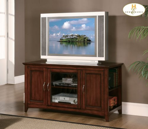 Cheap Warm Cherry Wood Media Center Storage TV Stand Console By Homelegance Furniture (8047-T)