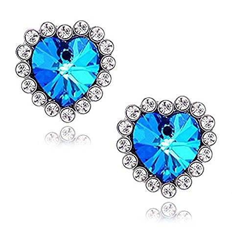 [Jewelry For Women Titanic Blue Heart Earrings] (Titanic Costumes Ideas)