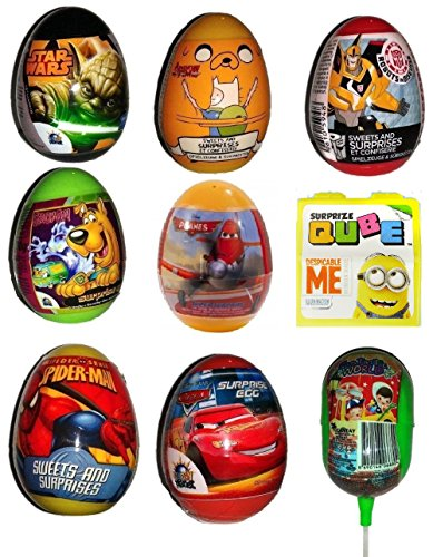 Surprise Eggs for Boys x 9 (Spiderman, Planes , Cars, Star Wars etc as shown in picture)