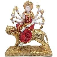 24 K Gold Plated With Wooden Base Hindu Goddess Durga Devi Handicraft Statue Sherawali Mata Rani / Maa Kali Decorative...