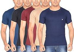 Dora Men's Cotton T-Shirts (Pack of 5, 1112_80, Ink Blue, Maroon, Beige, Dark Blue, Black, 80)