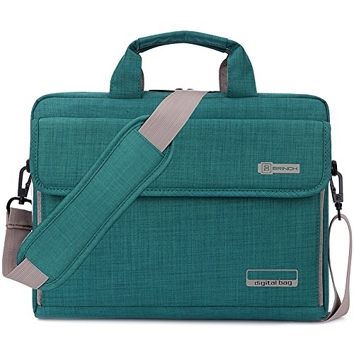 09. Brinch Unisex Oxford Universal Laptop Sleeve Messenger Shoulder Bag for 15 - 15.6 Inch Laptop (Green)