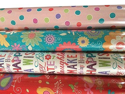 4x Confezione di carta regalo, per adulti, colori vivaci (Pois Rosa/Fiore/Farfalla/strisce) Arpan (4x Contempory Female)