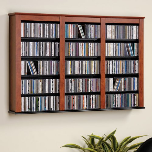 Prepac Cherry Large Capacity Hanging Wall Media (DVD,CD,Games) Storage