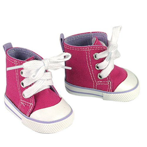 Fits American Girls Dolls , Hot Pink High Tops Doll Sneakers with Lavender Detail, Doll Hi Tops in Hot Pink