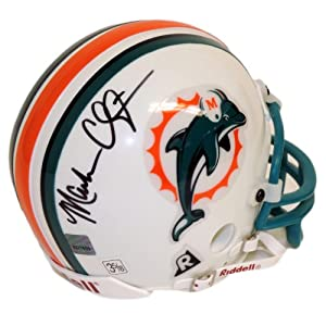 Miami Dolphins Mark Clayton Autographed Riddell Mini Helmet 2002 Topps Reserve Football #/570