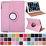 HDE 360° Rotating Leather Folio Case and Stand with Sleep/Wake Feature for iPad 2/3/4 (Pink)