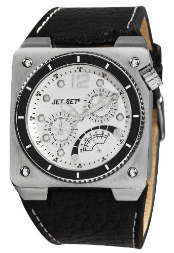 Jet Set J31723-647 - Reloj analógico de cuarzo para hombre, correa de cuero color negro