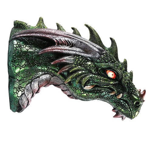 Medieval Times Green Dragon Wall Plaque With LED Illuminated Eyes Sculpture Plaque Home Decor