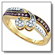 0.26 Carat Chocolate Brown & White Diamond 10K Yellow Gold Womens Ladies Wedding Anniversary Heart Ring