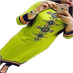 Kesu Fahion Women's Embroidered semi-stitched Selfie Kurti In Georgette Fabric (KUKRT1015_Free Size_Sea Green)