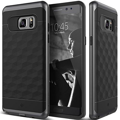 Galaxy Note 7 Case, Caseology [Parallax Series] Modern Slim Geometric Design [Black / Black] [Textured Grip] for Samsung Galaxy Note 7 (2016)