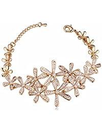NEVI Flower Czech Crystals 18K Gold Plated Multi Strand Bracelet Jewellery For Women And Girls (Gold & Silver)