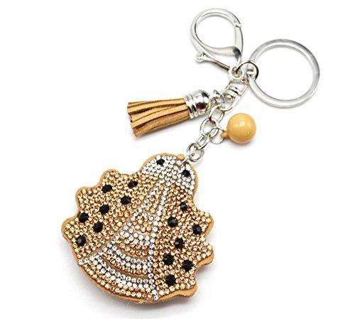 PT978E-Porta-chiavi, gioiello da borsetta, motivo a coccinella, con brillantini, in feltro, misura XXL, colore: beige/argentato-Mode fantasia