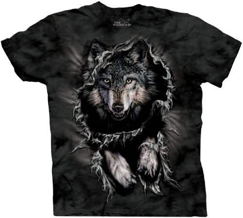 The Mountain Men's Breakthrough Wolf Short Sleeve Tee,Noir,X-Large