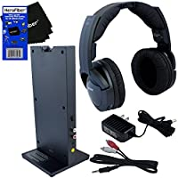 Sony MDRRF985RK Wireless RF (Radio Frequency) Headphone with Transmitter Base Station + Stereo Connecting Cable + AC adaptor + HeroFiber® Ultra Gentle Cleaning Cloth