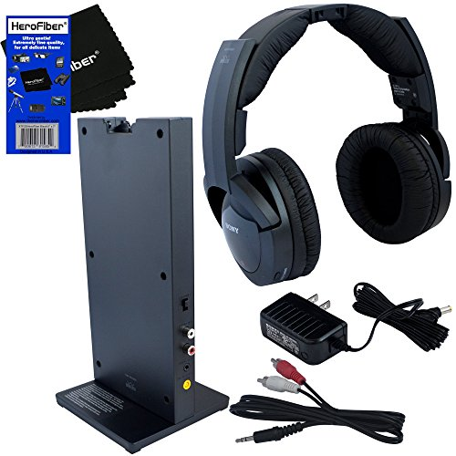 Sony MDRRF985RK Wireless RF (Radio Frequency) Headphone with Transmitter Base Station + Stereo Connecting Cable + AC adaptor + HeroFiber® Ultra Gentle Cleaning Cloth (Wireless 900 Mhz Tv Headphones compare prices)