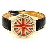 Conbays Black Uk Flag Round Dial Crystal Girl Leather Quartz Wrist Watch Women Gift Luxury