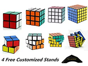 Shengshou Speed Cube 2x2x2 3x3x3 4x4x4 5x5x5 Magic Cube Puzzle Set of 4 Black + 4 Free Stands