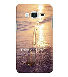 Printvisa Wine Bottle With Faith Qoutation Back Case Cover for Samsung Galaxy J2 (2016)