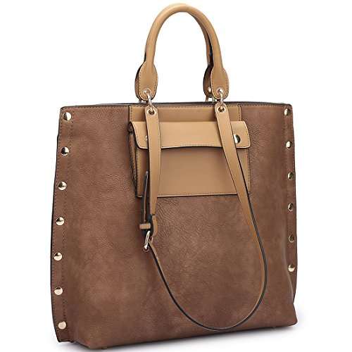 dasein-womens-stylish-large-leather-tote-purses-laptop-bags-with-front-pocket-and-side-gold-snap-acc