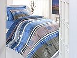 Caja de algodón Ran Young Grupo Juego de cama para cama individual (160x 220cm), color blanco) multicolor azul Talla:160 x 220 cm