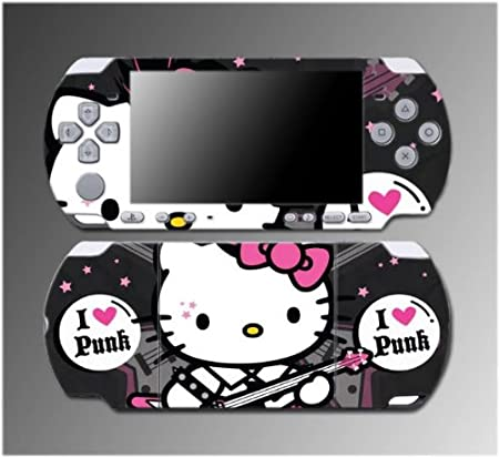 Cute Kitty Punk Rock Pink Princess Pretty Girl Video Game Vinyl Decal Sticker Cover Skin Protector #14 Sony PSP Slim 3000 3001 3002 3003 3004 Playstation Portable